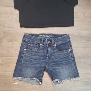 American Eagle Midi Stretch Shorts with Frayed